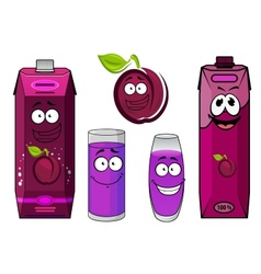 Cartoon plum juice characters for food pack design vector