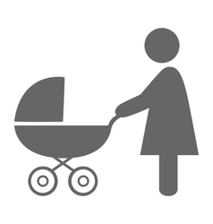 Woman with pram pictogram flat icon isolated on vector
