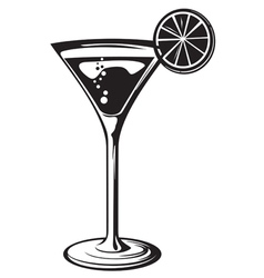 Cocktail glass with lemon vector