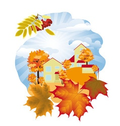 Autumn in the village 3a vector