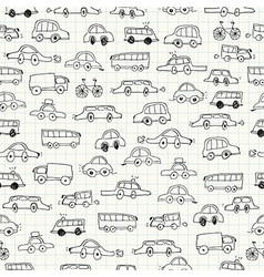 Cars doodles seamless pattern vector