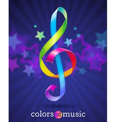 Multicolored ribbons in the shape of treble clef vector