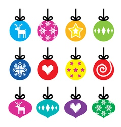 Christmas ball christmas bauble colorful icons vector
