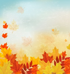 Vintage autumn background with colorful leaves vector