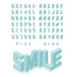 Isometric 3d type font set vector