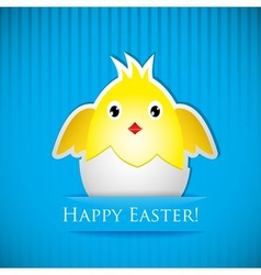 Easter card with chicken that hatched from egg vector