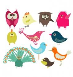 Set of abstract birds vector