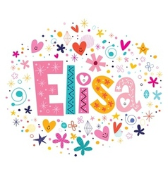 Elisa female name decorative lettering type design vector
