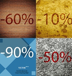 10 90 50 icon set of percent discount on abstract vector