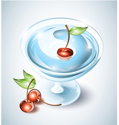 Cocktail drink with cherries vector