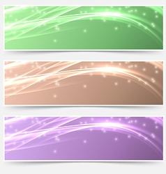 Bright shimmering glitter headers set templates vector