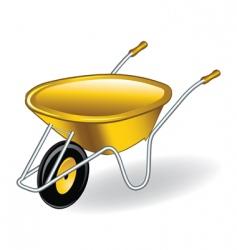 Yellow wheelbarrow vector