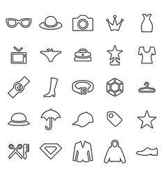 25 outline universal fashion icons vector
