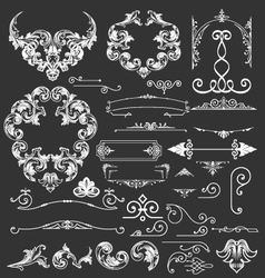 Vintage floral decorative elements vector