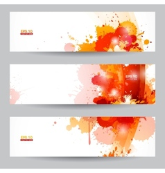 Three abstract artistic headers with paint splats vector