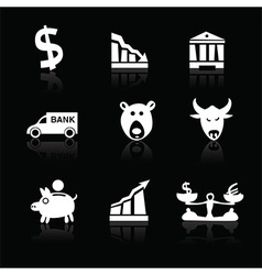 Banking icons hand drawn part 1 white on black vector