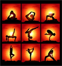 Set of of meditating and yoga poses vector