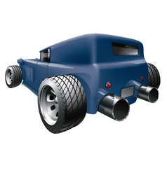 Car with big tailpipes vector