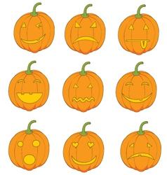 Set of pumpkins emoticons vector