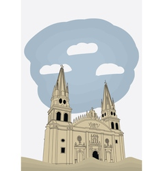 Cathedral in historic center in guadalajara vector