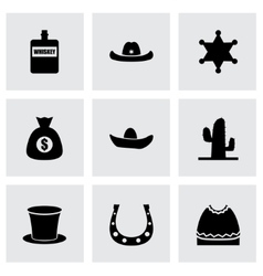 Wild west icon set vector