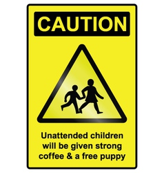Unattended children hazard sign vector