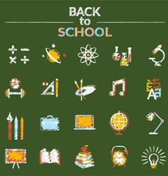 School education icons set chalk style vector
