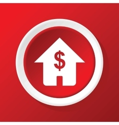 House price icon on red vector