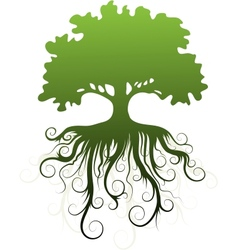 Silhouette of a tree with abstract roots vector