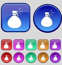 Plastic spray of water icon sign a set of twelve vector