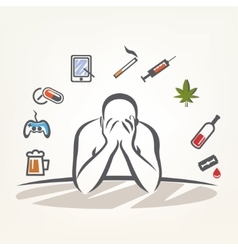 Addict man and set of addiction symbols outlined vector