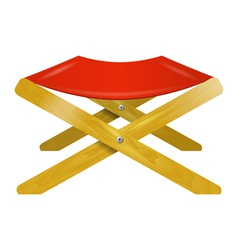 Folding wooden chair with red seat vector