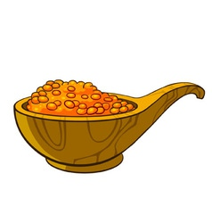 Wooden cup filled with red caviar vector