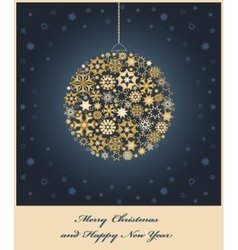 Fir tree bauble from gold and golden snowflakes vector