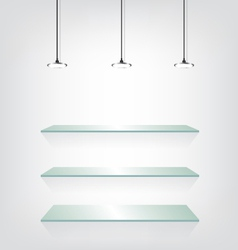 Glass shelves with spot light vector