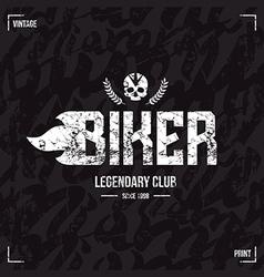 Biker club emblem and seamless pattern vector