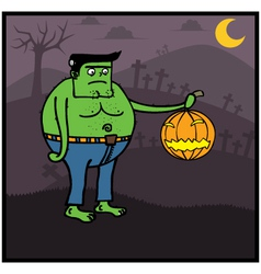Fat zombie holding pumpkin vector