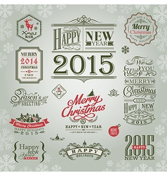 Set of christmas and new year design elements vector