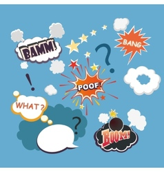Collection of multicolored comic sound effects vector
