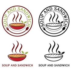Soup and sandwich labels set vector