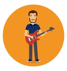 Flat rock musician with guitar vector