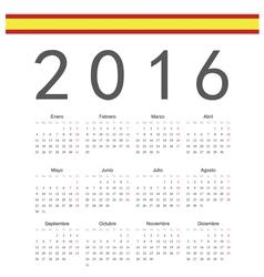 Square spanish 2016 year calendar vector