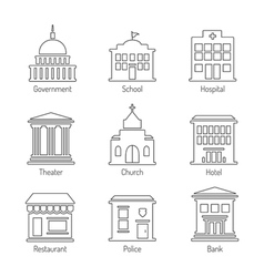 Government building outline icons set vector