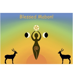 Mabon greeting card vector