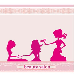 Beautiful woman in beauty salon vector