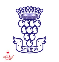 Grape vine with royal crown vector