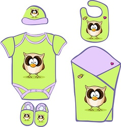 Cute baby layette with cute owl - vector