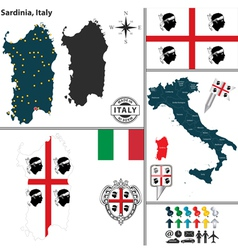 Map of sardinia vector