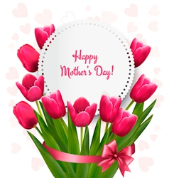 Pink tulips with happy mothers day gift card vector