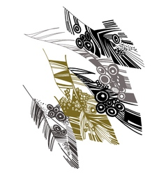 Birds feather graphic color sketch vector